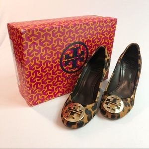 Tory Burch Sophie Wedge Leopard Print Shoes 8.5